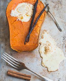image of vanilla  - Backed pumpkin half with a scoop of vanilla ice - JPG