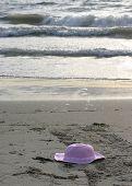 Pink Hat On Beach