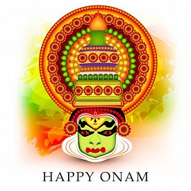 picture of onam festival  - illustration of a colourful Kathakali face with heavy crown on grungy colorful background for Onam celebration - JPG