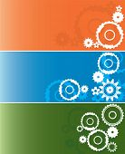 Set of three wheel industrial backgrounds or banners