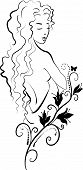 stock photo of drow  - Doodle grafic drowing of spa woman with a lily - JPG
