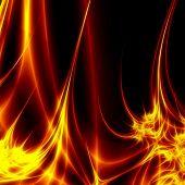 Hot fire on dark background