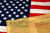 stock photo of preamble  - American Flag with Constitution - JPG