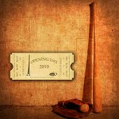 foto of baseball bat  - Opening Season 2010 Ticket on Baseball Background in a Dimensional Room - JPG