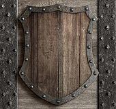 wood shield on medieval castle gate 3d illustration poster