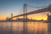 San Francisco Skyline With Oakland Bay Bridge At Sunset, California, Usa poster