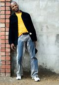 Young African man dressed casual.