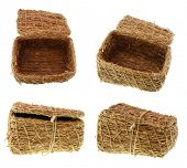 hi-rez of hand-made woven straw  basket (casket, box) in four options