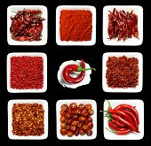 eight RED spices in WHITE square plates on BLACK background and one chilli pepper in sea shell with