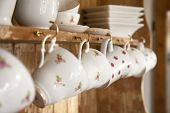 white tea cups shabby chic interior