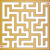 Gold maze. Vector illustration.