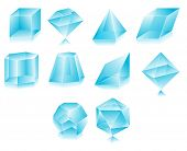 Blank translucent 3d shapes design illustration