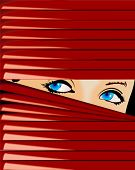 Blue-Eyed Girl Looks Because Of Red Jalousie. Vector Illustration. No Meshes.