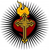 Fire Heart And Cross