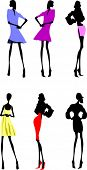Fashion Girls Designer Silhouette Sketch