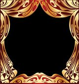 image of curtains stage  - Simple Vector Red And Gold Curtain - JPG