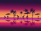 Purple Night Sea Palms Beach. Vector Illustration.
