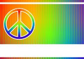Editable vector colorful background with peace sign and space for your text