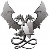 stock photo of armorial-bearings  - Heraldic composition with dragon - JPG