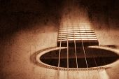 stock photo of acoustic guitar  - Grunge textured guitar background with space for your text - JPG
