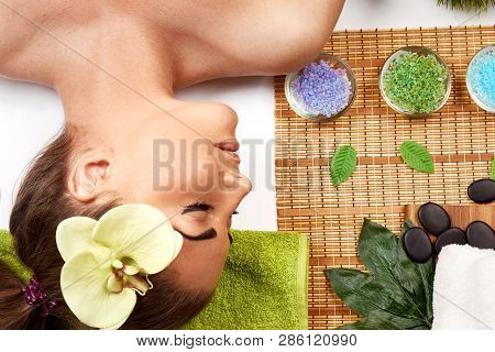 poster of Massage. Spa. Brunette Model Getting Massage Spa  Treatment, Hands Working On Massaging Woman Head A