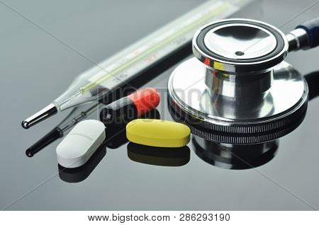 Stethoscope Thermometer Pills And Capsule