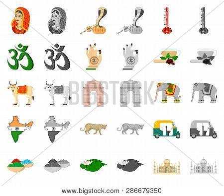 Country India Cartoon Monochrom Icons