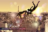 Paris-place for the most amazing Kiss. Vector Illustration.