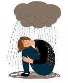 Depressed Girl. Cartoon Depressive Woman And Crying Rain, Ill Sorrow Miserable Unhappy Woman Depress poster