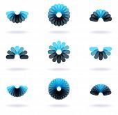 set of nine flower symbols, vector illustration