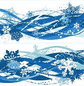 Постер, плакат: Две рождественские композиции с голубой снежинки