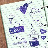 Valentine doodles, vector illustration