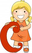 Illustration of a Kid Standing Behind a Letter C