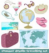 Set of summer doodle travelling icons, vector eps8