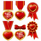 Collection of medals in the form of hearts