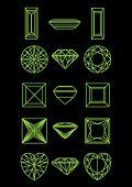 Постер, плакат: Коллекция формы алмаза черном фоне Черно белые