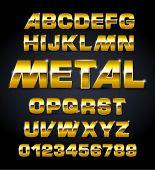 vector set of golden metallic fonts