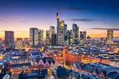 Frankfurt Am Main, Germany. Aerial Cityscape Image Of Frankfurt Am Main Skyline During Beautiful Sun poster