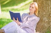 Female Self Improvement. Girl Lean On Tree While Relax In Park Sit Grass. Self Improvement Book. Sel poster