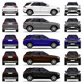 Realistic Suv Cars Set. Front View; Side View; Back View. poster