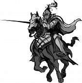 stock photo of paladin  - Knight with armor riding a horse and Jousting - JPG