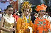 Three Thai-Chinese Young at Chinese New Year Celebration