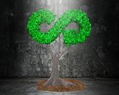 Concept Of Developing Circular Economy And Green Friendly Technology, Tree With Green Leaves In Arro poster