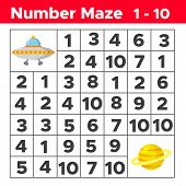 Number Maze, Math Puzzle Game For Children. Help The Ufo Find Way To The Planet Saturn. Counting Fro poster