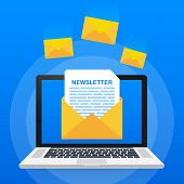 Envelope With A Newsletter Concept. Open Message With The Document. Subscribe To Newsletter Concept. poster
