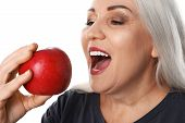 Smiling Woman With Perfect Teeth And Red Apple On White Background, Closeup poster