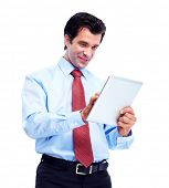 Happy handsome businessman with tablet computer. Isolated over white background.