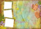 Vintage Photo Frames On The Abstract Varicolored Paper Background