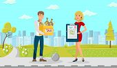 Tax Vector Flat Guy Young Yellow Box Lot Dollars. Woman In Red Dress With Tax Forms Document. Man Wi poster