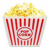 Large Bucket of Popcorn on White - Symmetrical